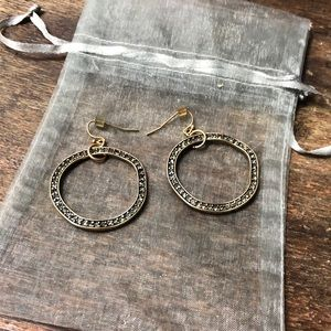 Boutique Bronze Hoops with Stones